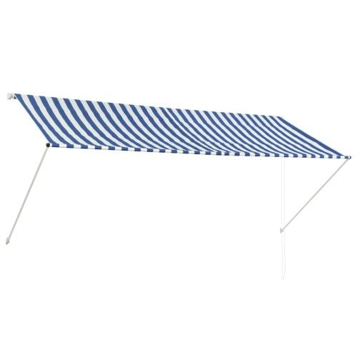 Store Banne Auvent rétractable 300x150 cm Bleu et blanc