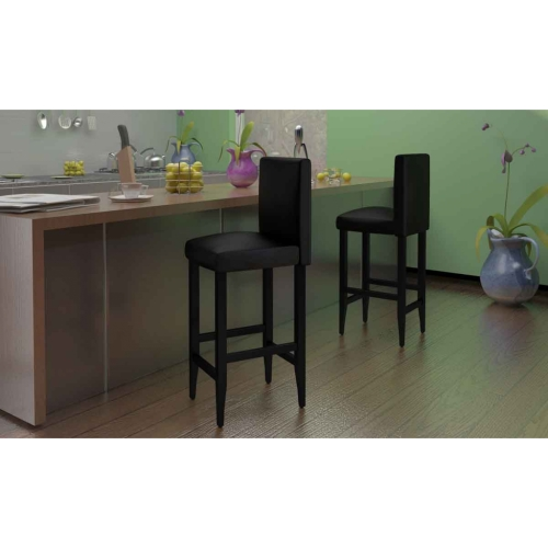 Set of 4 Modern Bar Stools in Black Artificial Leather