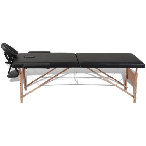 Black Foldable Massage Table 2 Zones with Wooden Frame