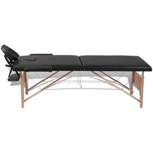 Negro plegable Mesa de masajes 2 Zonas con marco de madera