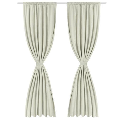 2 pcs Cream Energy-saving Blackout Curtains Double Layer 55