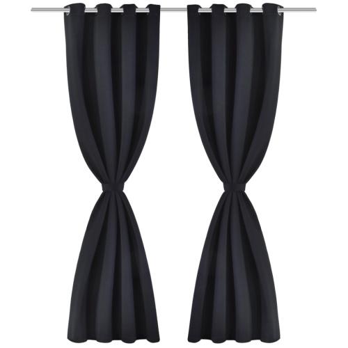 2 pcs Noir Blackout Curtains avec Métal Anneaux 53