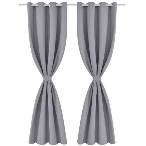 2 pezzi grigio tende oscuranti con Metal Rings 53