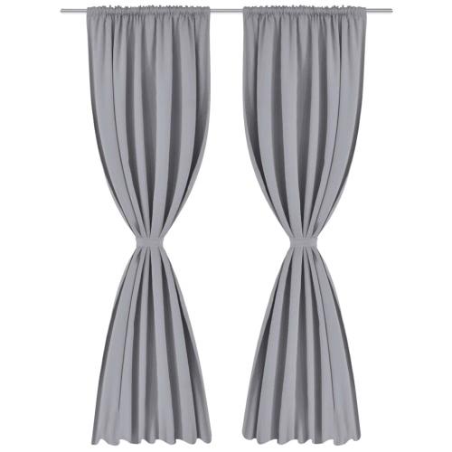 2 pcs Gray Slot-Headed Blackout Curtains 53