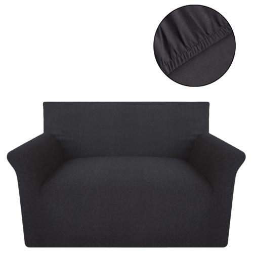Sofa elastische Hülle aus Baumwolle gestrickt anthrazit