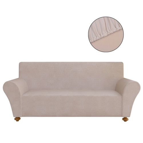 elastic fabric cover beige polyester jersey sofa