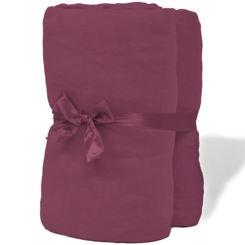 cotton sheet set 2 pcs 150 g / ㎡ burgundy 140x200-160x200cm