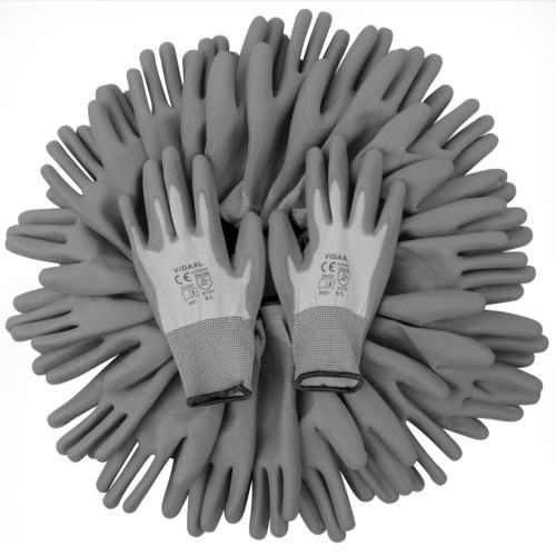 PU Arbeitshandschuhe 24 Paare weiße und graue Größe 9 / L