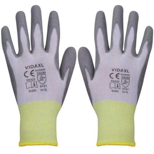 PU рабочие перчатки 24 пар белый и серый размер 10 / XL фото
