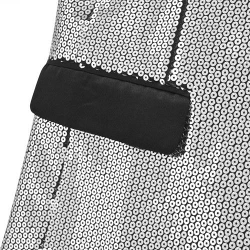 Куртка Sequin для смокинга серебристого размера 46