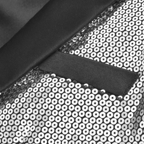 Veste pailletée pour homme tuxedo argent taille 48