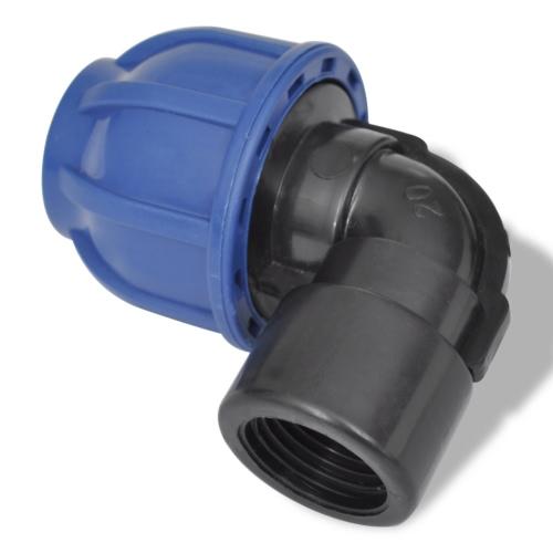 PE Hose connecteur femelle Elbow Bar 20 mm 16 1/2 pouces 2 Pieces