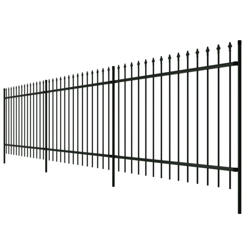 Ornamental Security Palisade Fence Steel Black Pointed Top 2'