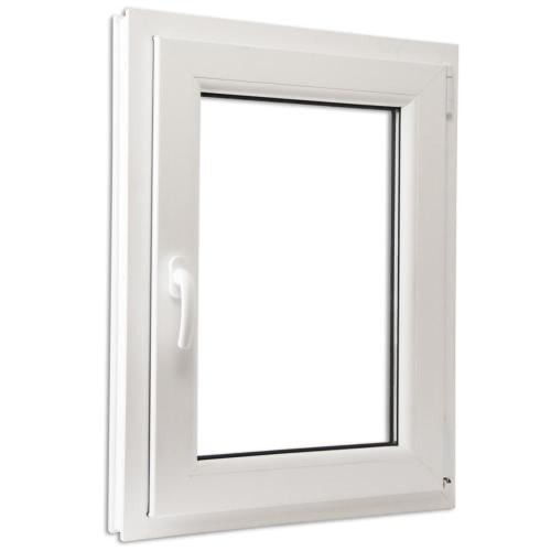 PVC à double fenêtre oscillo vitrée et tourner à gauche poignée 600x900mm