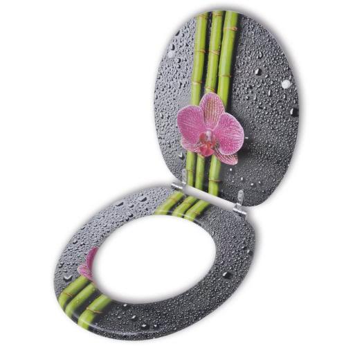 Coperchio da Toilette in MDF con Modello Bambù e Fiore