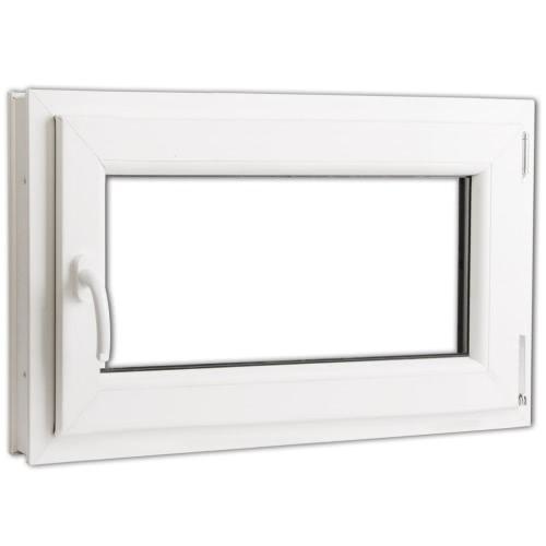 PVC-Dreh-Kipp-Fenster dreifach Glasgriff 800x500 mm links