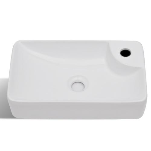Lavandino del bagno con rubinetto bianco rubinetto in ceramica