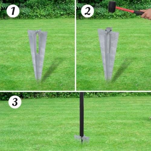 Set di Euro-Recinzione con picchetti da terra 10x1,5 m grigio acciaio