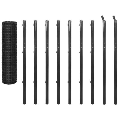 Set di Euro-Recinzione 10x1,7 m grigio acciaio