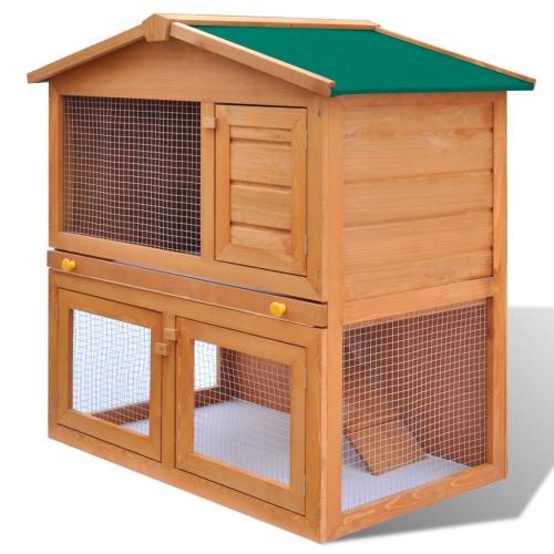 Coniglio esterna Hutch Piccolo Animal House Pet Gabbia 3 Porte di legno