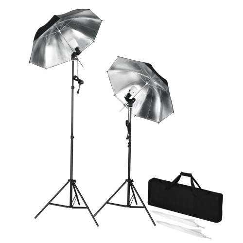 Portable photographic strobe lights + tripods and umbrellas
