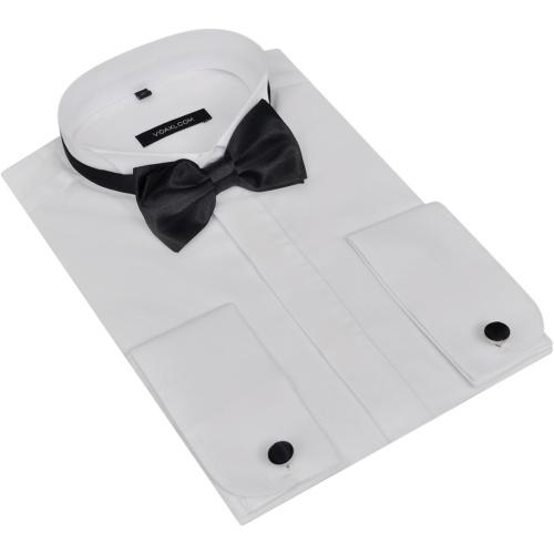 Camicia da Smoking Uomo con Bottoni e Papillon Misura S Bianco