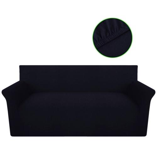 Futter 3-Sitzer-Sofa Abdeckung elastisch gestrickten schwarzen Baumwoll