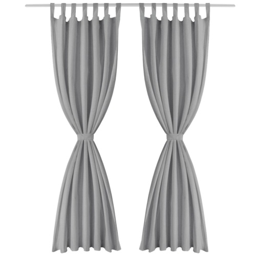 TOMTOP / 2 Pcs Curtains in Micro Satin with Passers 140x175 cm Gray