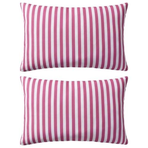 Наружные подушки 2 шт. Полосатая печать 60х40 см Розовый
