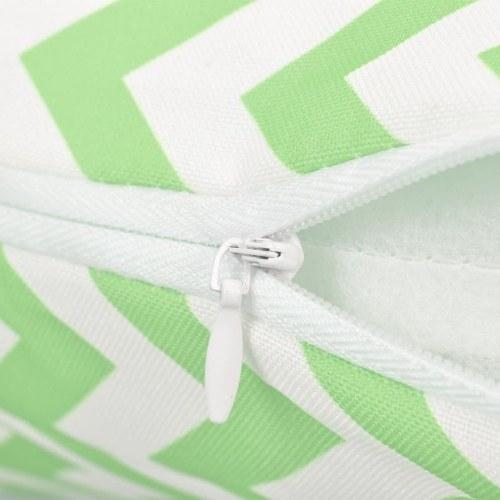 Наружные подушки 4 шт. Зигзагообразная печать 45х45 см. Зеленое яблоко