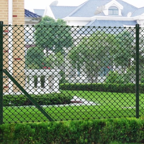 1,5x15 m fence in metallic green net with poles and accessories