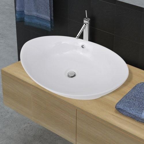Lavello ovale in ceramica di lusso con troppopieno 59 x 38,5 cm