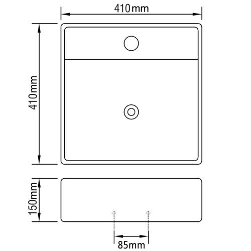 Ceramica di lusso bacino con foro di scarico 41 x 41 centimetri