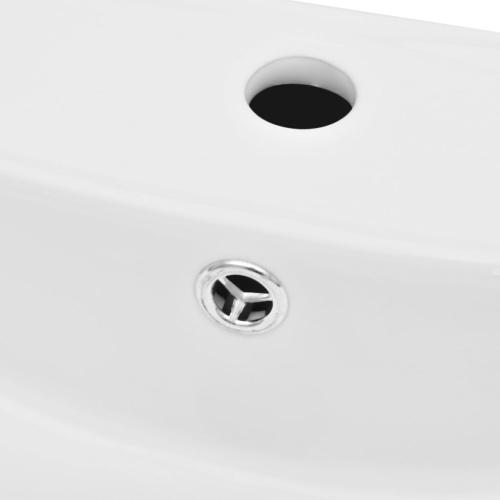Lavabo Ceramica Lusso Rettangolare con Foro di Traboco e Foro Rubinetto