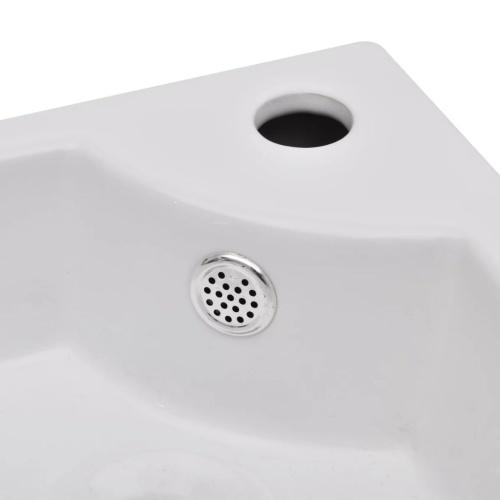 Lavello in ceramica con foro per rubinetto e sfioro angolo bianco