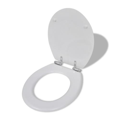 Sedile WC MDF Coperchio chiusura agevole con disegno semplice Bianco