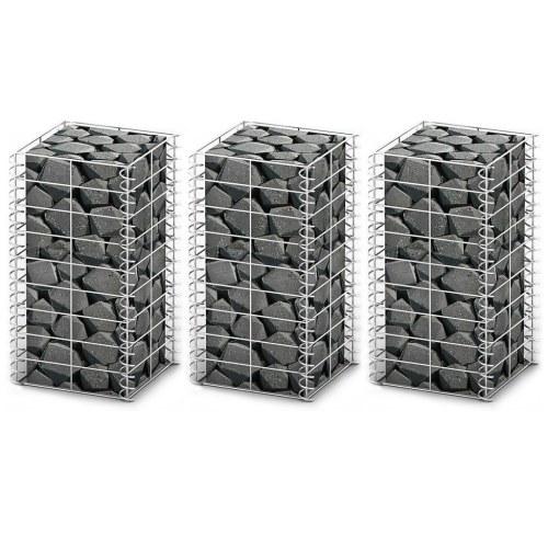 set of 3 wall gabion galvanized wire 25 x 25 x 50 cm