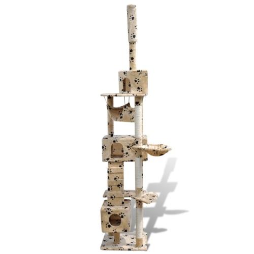 Tiragraffi Casina ad albero per gatti 220-240 cm 3 posti con zampine