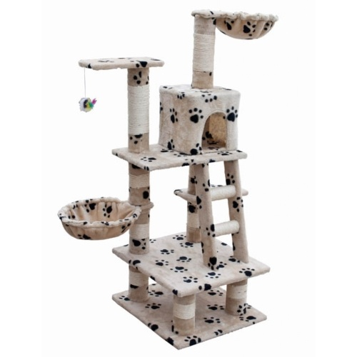 Casina ad albero per gatto 122 cm Peluche beige con impronte