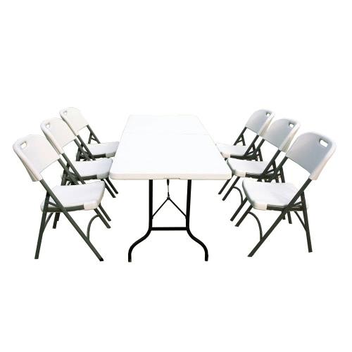 Ensemble table de jardin plateau pliable et 6 chaises pliantes