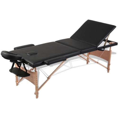Table de Massage Pliante 3 Zones Noir Cadre en Bois