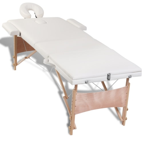 Folding Cot Massage Cream White Zone 3 with Wooden Frame