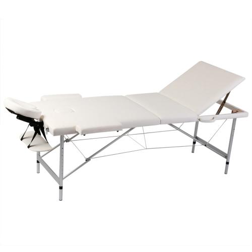 Blanc Crème Pliable Massage Table 3 Zones avec cadre en aluminium