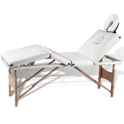 Tableau Creme Blanc Pliable Massage 4 zones avec cadre en bois