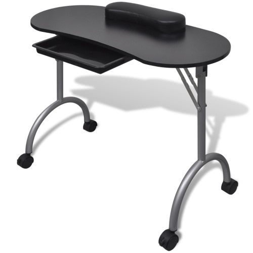 Folding Table for Manicure with Wheels Black