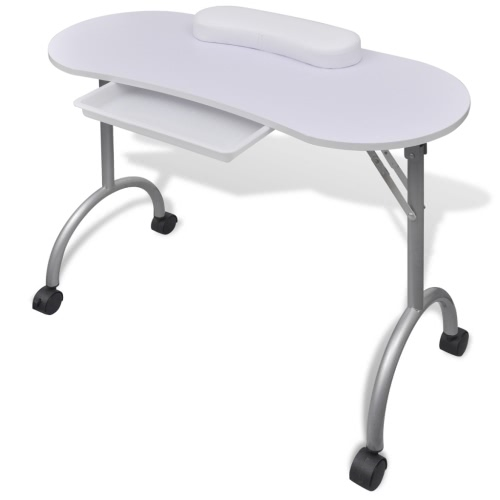 Folding Table for Manicure with Wheels White
