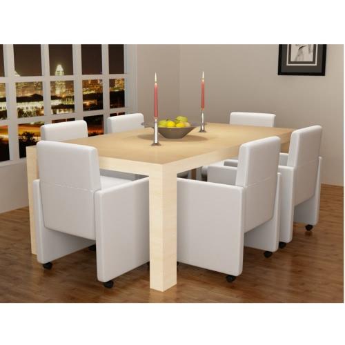 Stühle-Sessel Raum und Küche Armlehnen 6 Stück leben, Leder