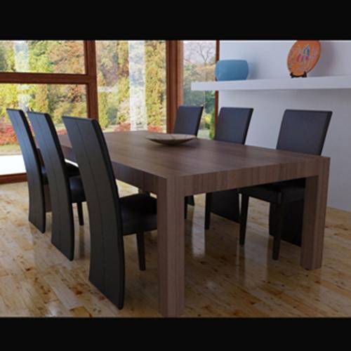 6 x cena las sillas de cuero marrón