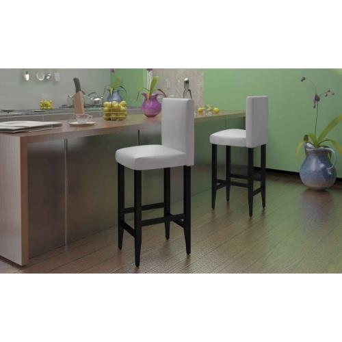 Set di 4 Modern Bianco e finta pelle Sgabello Bar (2 x 240073)
