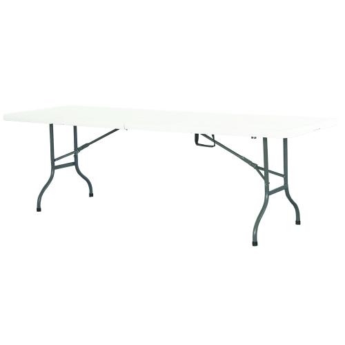 Premium Event Klapptisch 244cm weiß mit zusammenklappbarer Tischplatte